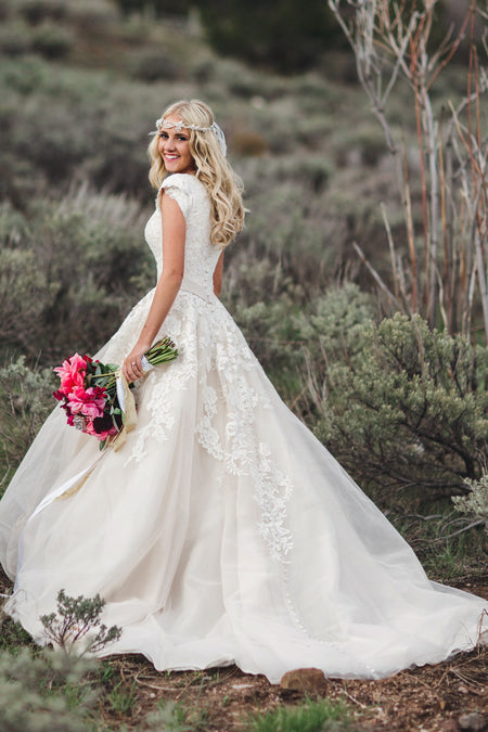 2021 Strapless Flowers Wedding Gown with Chapel Train