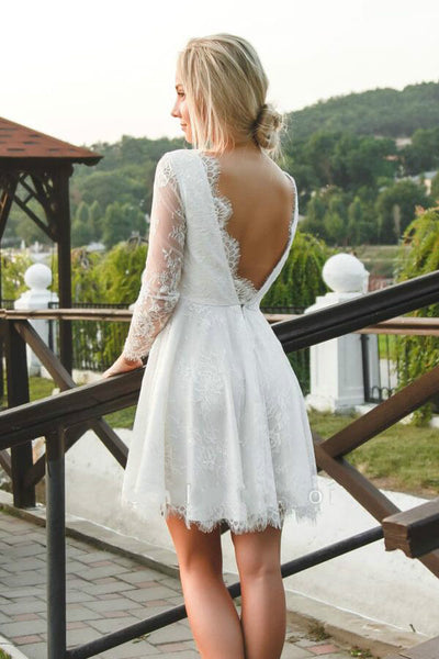 v-neck-lace-short-bridal-dress-with-sleeves-1