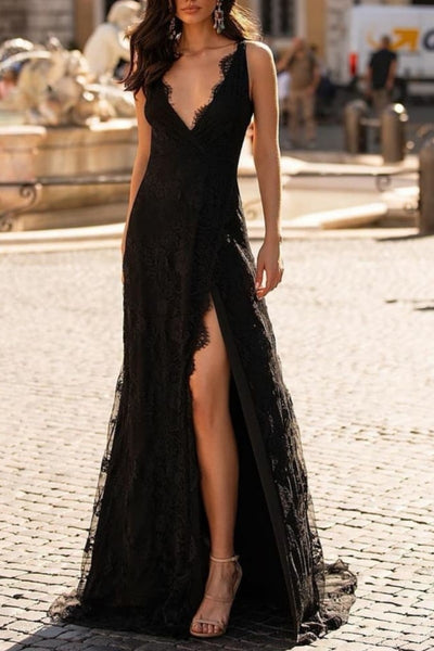 v-neck-long-black-lace-prom-dresses-with-slit-side