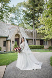 V-neck Long Sleeves Vintage Wedding Dress with Tulle Skirt