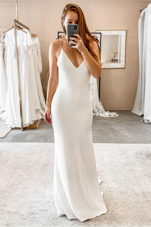 v-neck-straight-boho-wedding-dress-with-spaghetti-straps