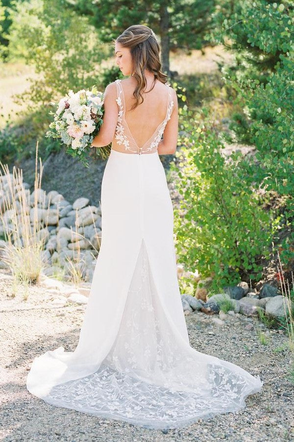 v-neck-summer-beach-wedding-gown-with-lace-train-1