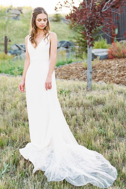 v-neck-summer-beach-wedding-gown-with-lace-train