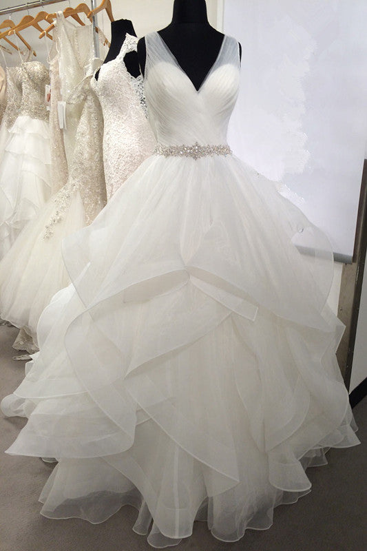 V Neck Tulle Wedding Dresses With Volume Layers Horsehair Trim