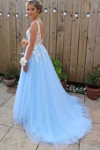 3bec914d376 V-neck White Lace Appliques Blue Tulle Prom Dresses Long – loveangeldress