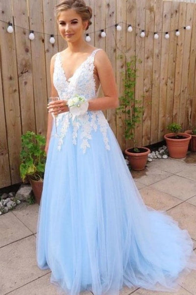 v-neck-white-lace-appliques-blue-tulle-prom-dresses-long
