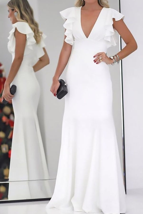 v-neck-white-wedding-dress-with-ruffles-sleeves