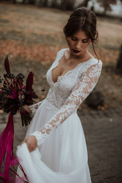 v-neckline-beach-bridal-dress-with-sheer-lace-sleeves-1