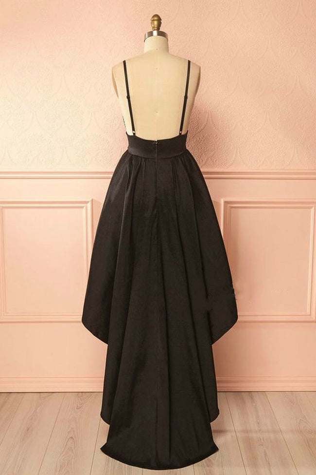 v-neckline-black-high-low-homecoming-dress-with-double-straps-1