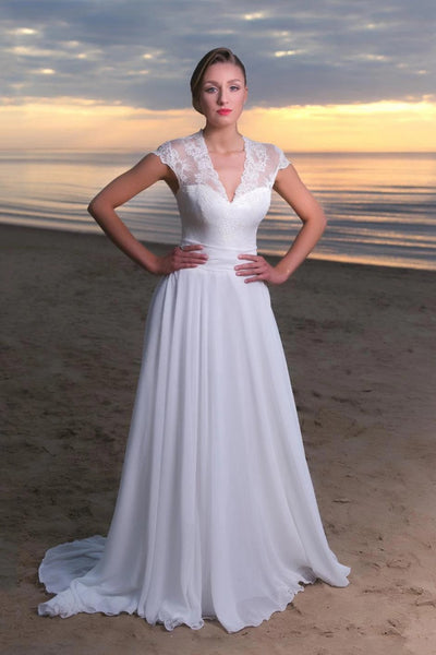 v-neckline-capped-sleeves-beach-wedding-dress-with-hollow-back