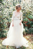 v-neckline-garden-bridal-wedding-dress-with-lace-sleeves-1