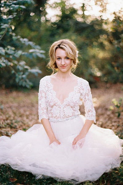 v-neckline-garden-bridal-wedding-dress-with-lace-sleeves