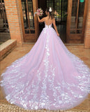 v-neckline-lace-floral-wedding-gown-with-contrast-color-skirt-1