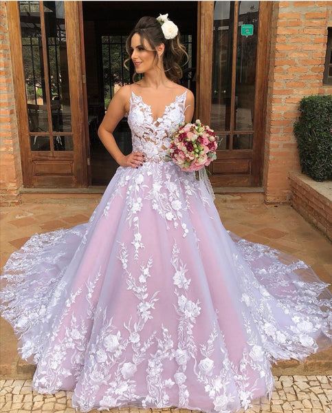 v-neckline-lace-floral-wedding-gown-with-contrast-color-skirt-2