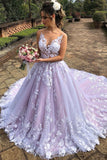 v-neckline-lace-floral-wedding-gown-with-contrast-color-skirt