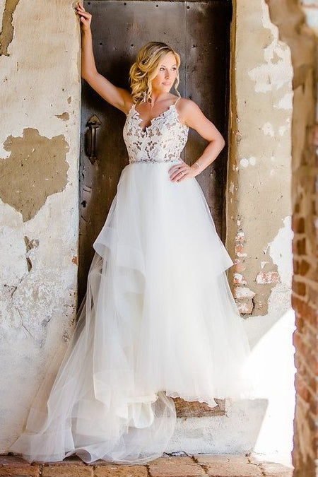 Ivory Lace Floor-Length Wedding Gown with Off-the-shoulder