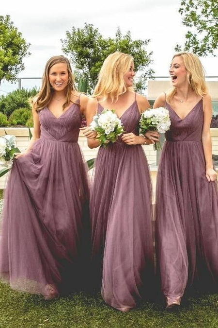 Long Light-Pink Bridesmaid Dresses with Flounced Sleeves