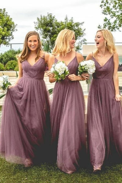 2019 real discount coupon limited quantity V-neckline Mauve Bridesmaid Dress Long Tulle Skirt