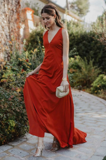 Coral Chiffon Modest Bridesmaid Dresses Short