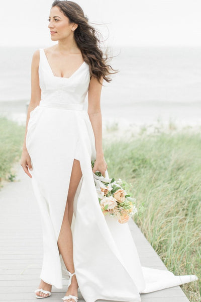 v-neckline-satin-boho-wedding-dresses-for-summer