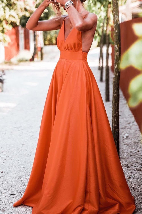 v-neckline-satin-orange-prom-dresses-floor-length