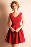 v-neckline-satin-red-homecoming-dresses-short