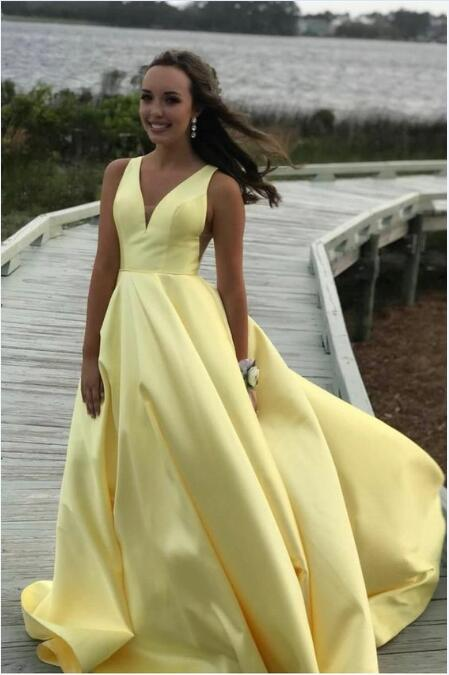 Halter Yellow Long Prom Dress Mermaid Skirt