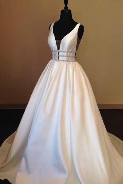 v-neckline-satin-wedding-gowns-with-beading-belt
