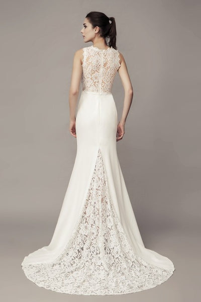 v-neckline-sheath-wedding-dress-with-lace-splice-satin-skirt-1