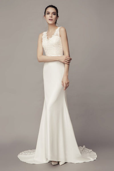 v-neckline-sheath-wedding-dress-with-lace-splice-satin-skirt-2