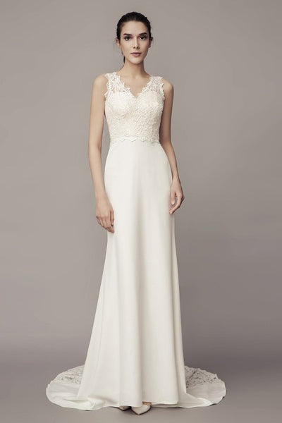v-neckline-sheath-wedding-dress-with-lace-splice-satin-skirt
