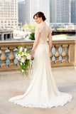 v-neckline-sheer-lace-chiffon-short-sleeves-wedding-gown-malaysia