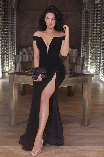 v-neckline-side-slit-black-maxi-long-dress-for-prom