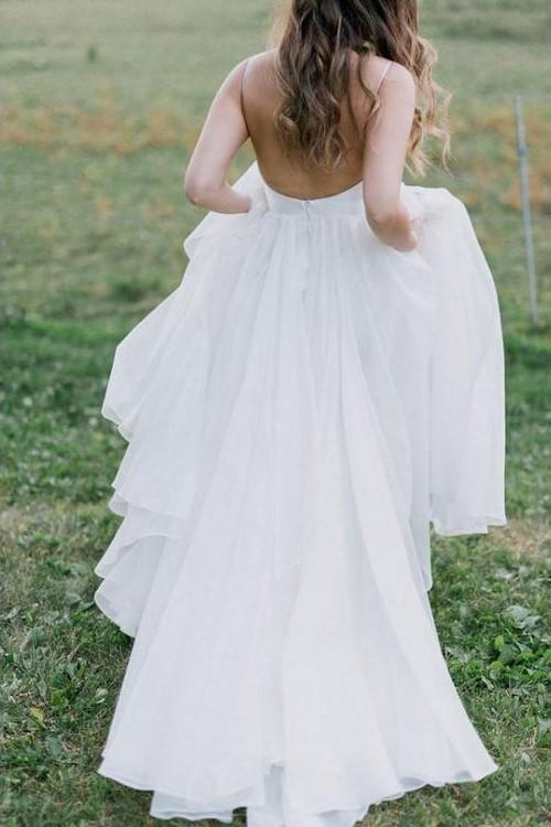 v-neckline-simple-boho-beach-wedding-dress-organza-1