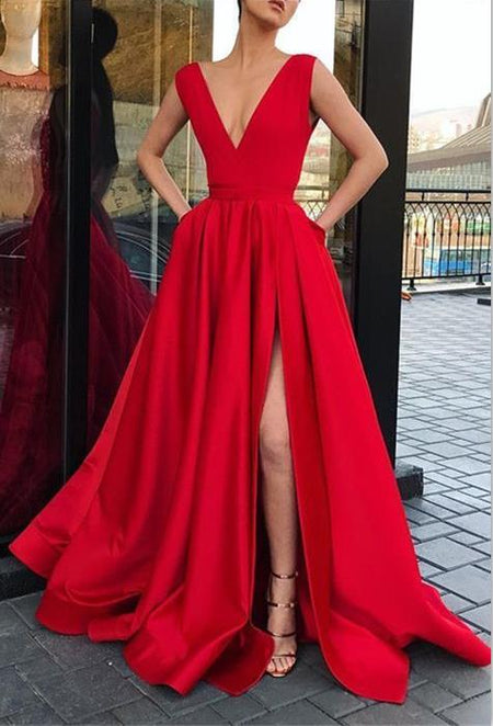 High Thigh Slit Burgundy Formal Prom Dresses with Double Straps