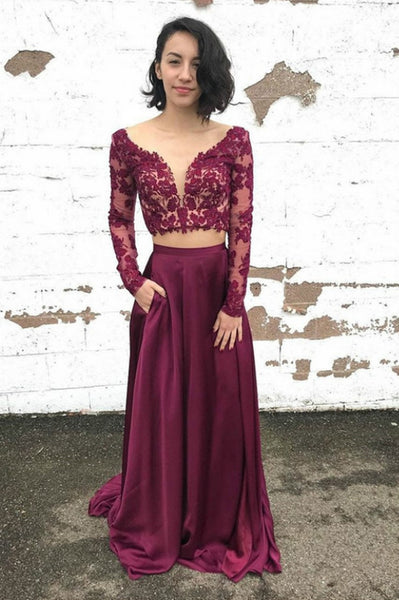 v-neckline-two-piece-prom-dresses-long-sleeves-lace-bodice