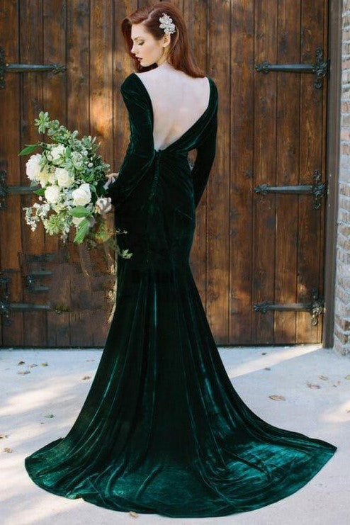 v-neckline-velvet-dark-green-bridesmaid-dress-long-sleeves-1