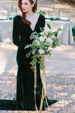 v-neckline-velvet-dark-green-bridesmaid-dress-long-sleeves