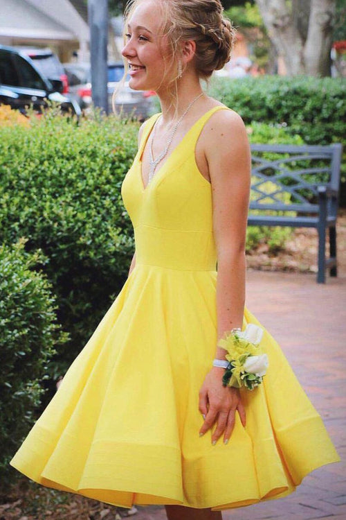 v-neckline-yellow-homecoming-dresses-short-satin-skirt