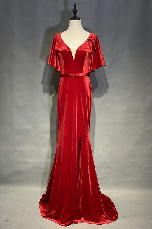 velvet-red-evening-dresses-with-ruffles-sleeves