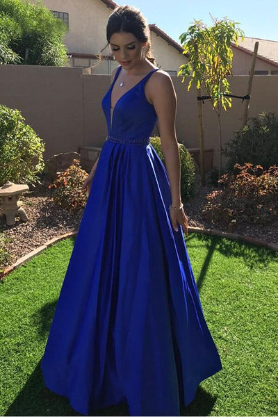 431881631b3bd vestido de fiesta 2018 V-neck A-line Royal Blue Prom Dresses Long –  loveangeldress