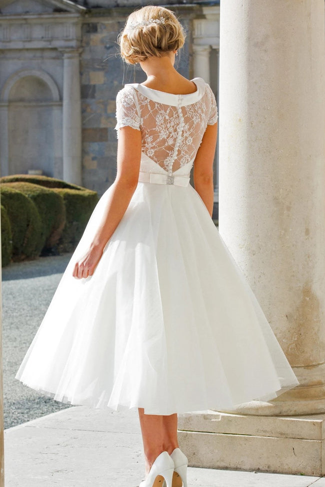Vintage Beaded Lace Wedding Dresses Tea Length Tulle Skirt