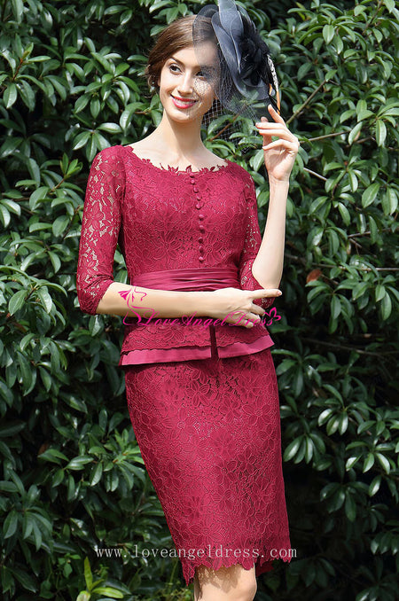 V-neck Chiffon Mother of the Bride Lace Dress with Cap Sleeves