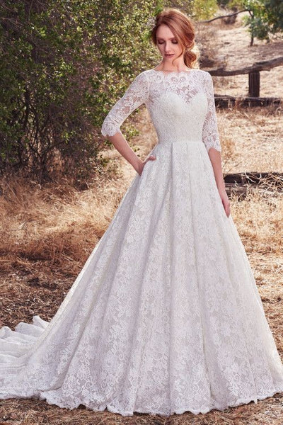 vintage-full-lace-bridal-dress-elbow-sleeves