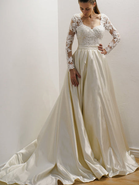 vintage-inspired-satin-bride-wedding-gown-with-lace-long-sleeves-2