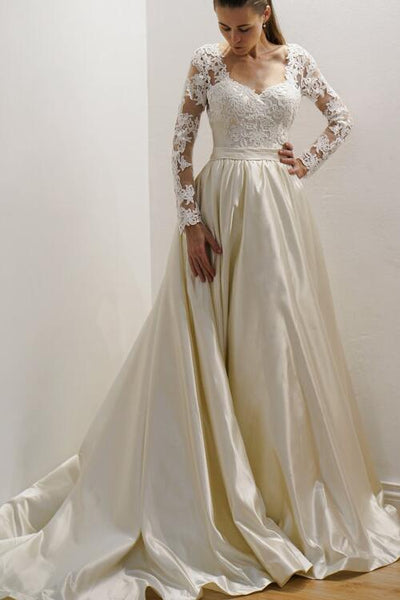 vintage-inspired-satin-bride-wedding-gown-with-lace-long-sleeves