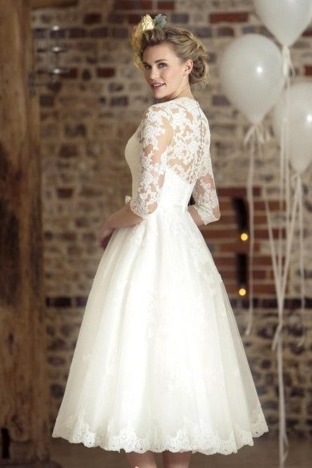 vintage-lace-tea-length-wedding-dress-with-sleeves-1