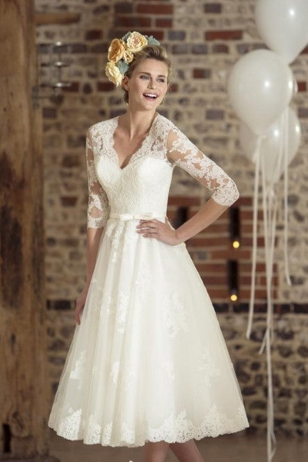 vintage-lace-tea-length-wedding-dress-with-sleeves
