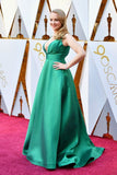Wendi McLendon-Covey Green Satin Dress Oscars 2018 Red Carpet
