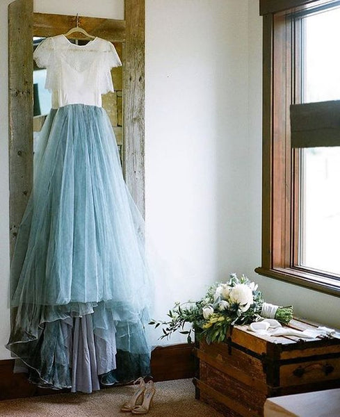 white-and-blue-tulle-wedding-dresses-with-lace-jacket